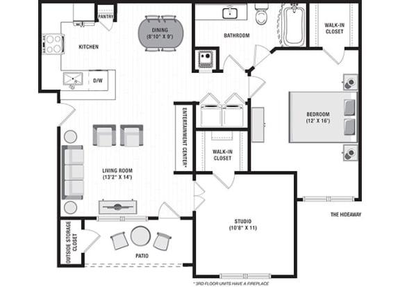 Floor Plan  The Hideaway Floor Plan at Blu on the Boulevard, Baton Rouge, 70810