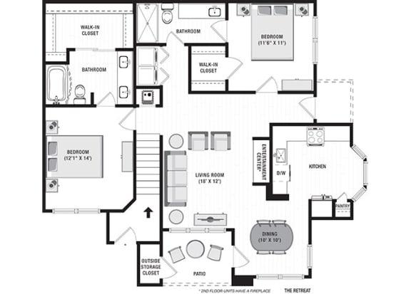 The Retreat Floor Plan at Blu on the Boulevard, Baton Rouge