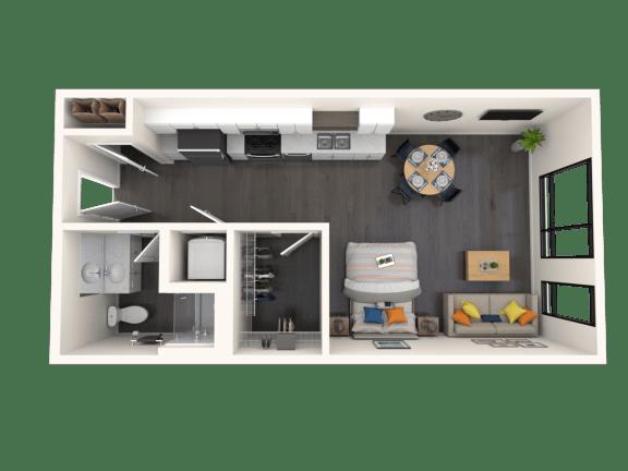 Floor Plan  Jules Studio3 523sf