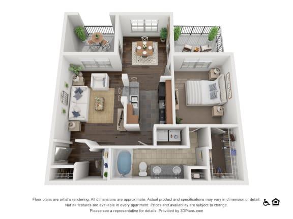 Floor Plan  One Bed One Bath A1 Floor Plan at Villas at Stone Oak Ranch, Texas, 78727