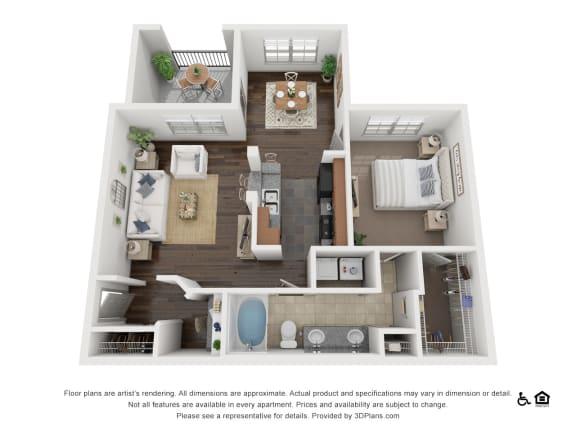 Floor Plan  One Bed One Bath A3 Floor Plan at Villas at Stone Oak Ranch, Texas, 78727