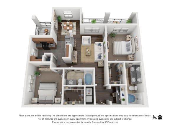 Floor Plan  One Bed One Bath B1 Floor Plan at Villas at Stone Oak Ranch, Texas, 78727