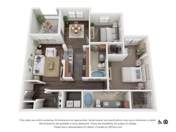 Floor Plan  One Bed One Bath B2 Floor Plan at Villas at Stone Oak Ranch, Texas, 78727