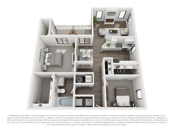Floor Plan  Floor Plan B10b 2 Bed 1 Bath