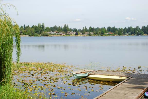 Lake view at Landing at Angle Lake Apartments, SeaTac, WA