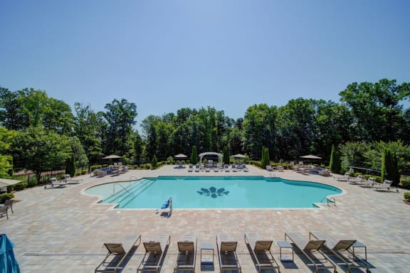 full view of outdoor pool from balcony