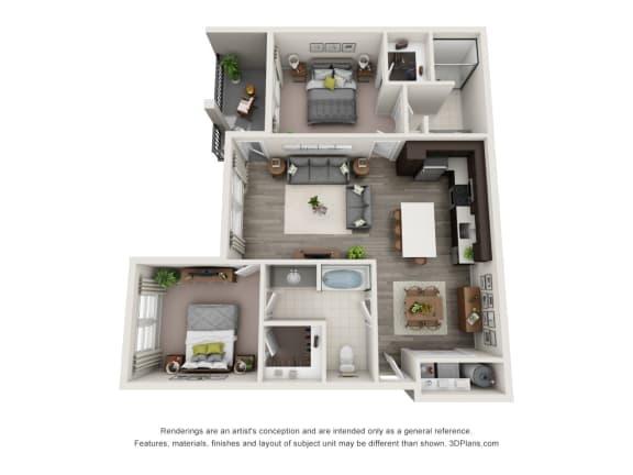 B1 Floor Plan at Hudson at East, Orlando, Florida