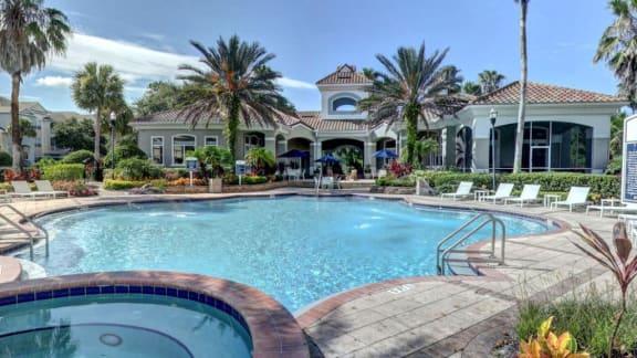 resort inspired pool at tuscany bay apartments westchase tampa FL