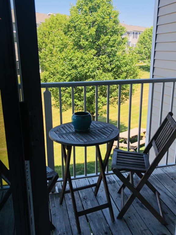 Private Patio with View at Kuder Estates Apartments, MRD Conventional, Warsaw, IN, 46582