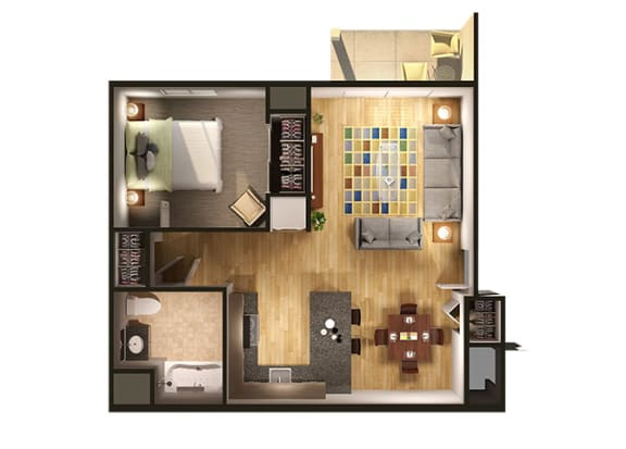 One Bedroom Floor Plan at Oliver Apartments, Temperance, Michigan