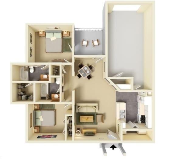 Floor Plan  2 Bedroom | 2 Bathroom G