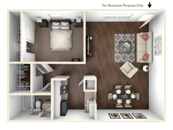 Floor Plan  One Bedroom Apartment Home in Pasadena, TX