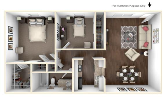 Floor Plan  Two Bedroom Apartment Home in Pasadena, TX