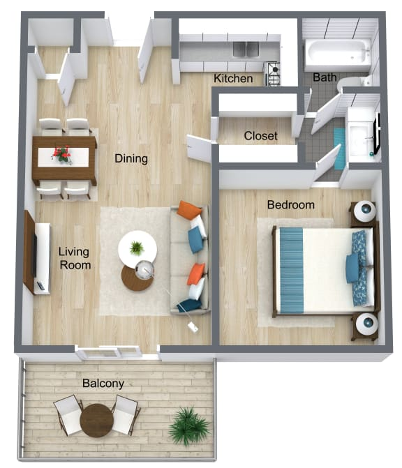 Floor Plan  1 Bedroom | 1 Bathroom A