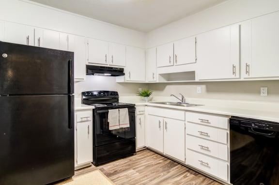 kitchen featured with black appliances
