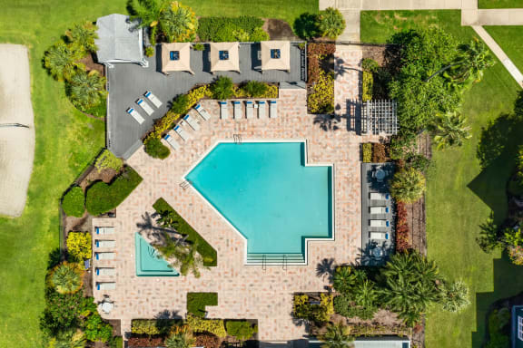 Aerial View Of The Pool & Hot Tub
