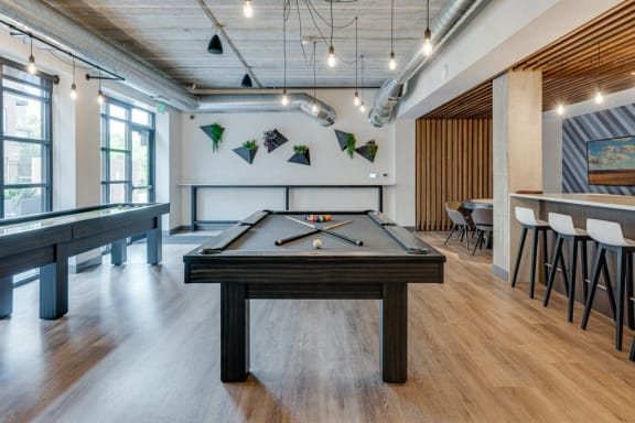Game Room Pool Table and Shuffleboard