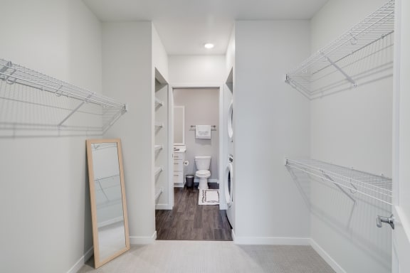 Large Walk-In Closet with Built-In Shelving