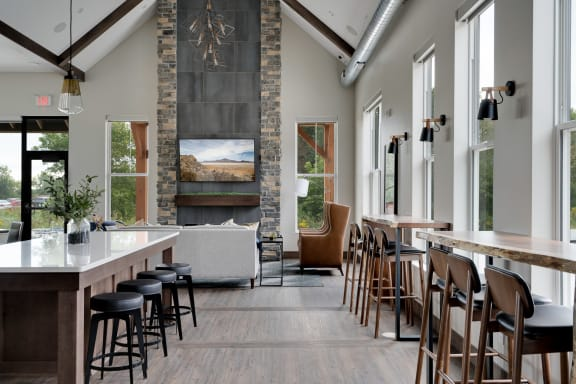 Clubhouse with Vaulted Ceilings and Large Windows