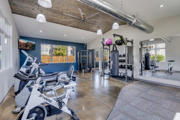 Spacious Fitness Center with Cardio Equipment, Free Weights and Boxing Bag