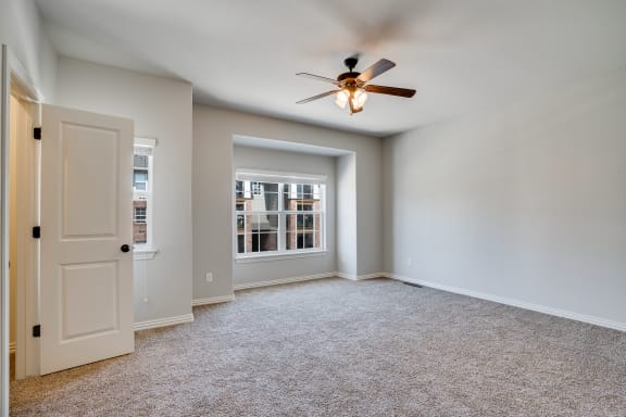 Carpeted Bedroom With Large Windows  Including Window Treatments