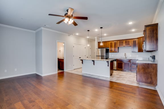 Spacious Kitchen Area & Living Room With Ceiling Fan