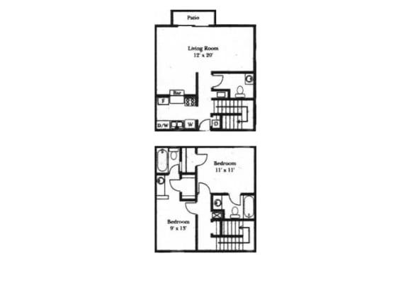 2 bedroom 1-a-half bathroom floor plan at Wellington Estates in San Antonio, TX