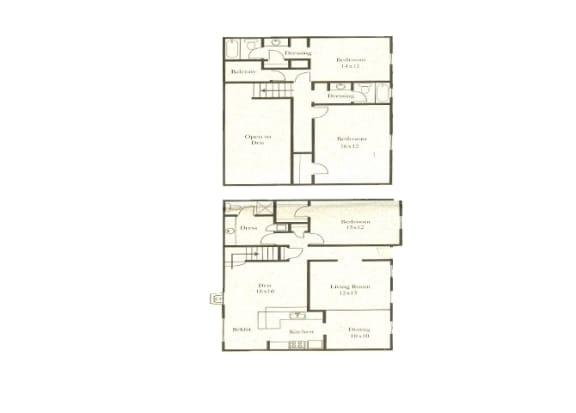 3 bedroom 3 bathroom floor plan at Wellington Estates in San Antonio, TX