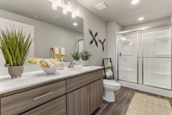 Bathroom at V on Broadway Apartments in Tempe AZ November 2020 (2)