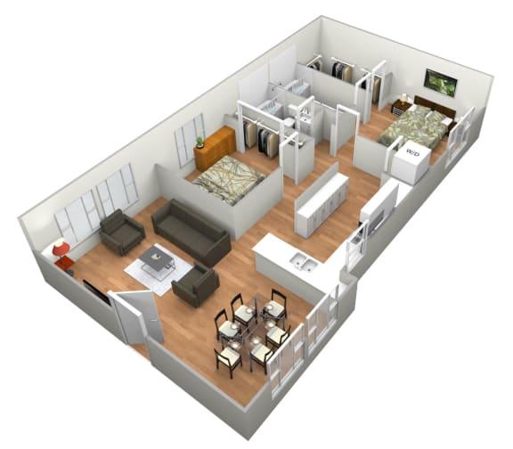 Devesa 2 Bedroom 2 Bathroom Floor Plan at Levante Apartment Homes, California, 92335