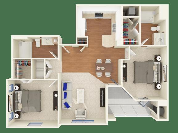 Floor Plan  2 bedroom apartment Oxnard CA
