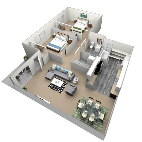 Floor Plan  2 Bedroom 1 Bathroom Floor Plan at Country Village Apartments, Jurupa Valley, California