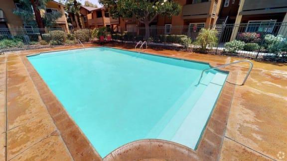 Blue Cool Swimming Pool at Citrus Gardens Apartments, Fontana, CA, 92335