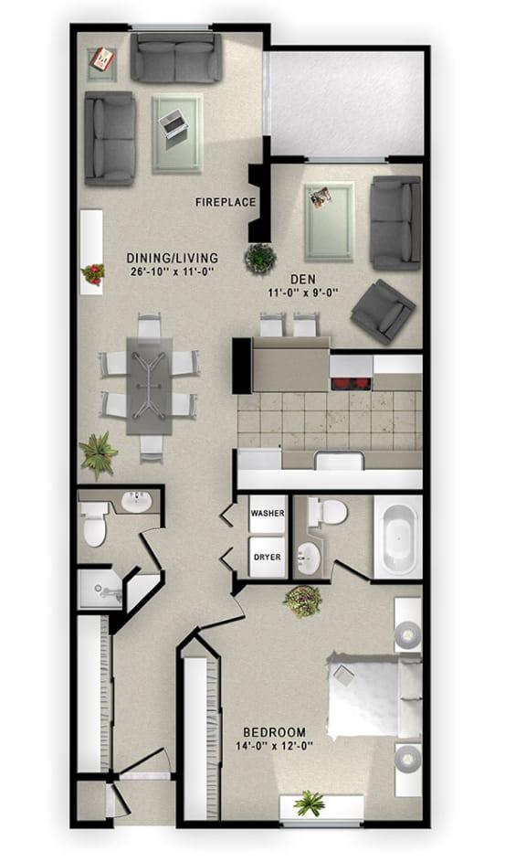 Floor Plan  A1 Floor Plan at Augusta Court Apartments, Houston, TX