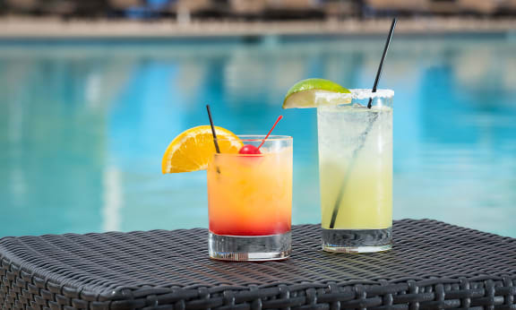 Pool side drinks at Augusta Court Apartments, Houston, Texas