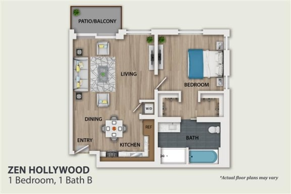 Floor Plan  1 Bedroom 1 Bath (A1)