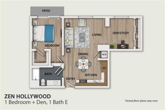 Floor Plan  1 Bedroom 1 Bath Den (A4)