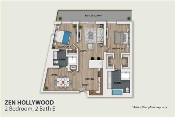 Floor Plan  2 Bedroom 2 Bath (B4)