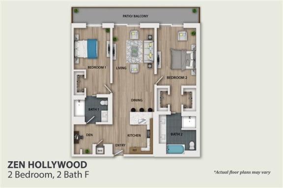 Floor Plan  2 Bedroom 2 Bath (B5)