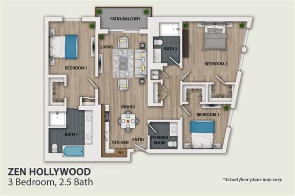 Floor Plan  3 Bedroom 2.5 Bath