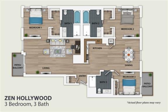 Floor Plan  3 Bedroom 3 Bath