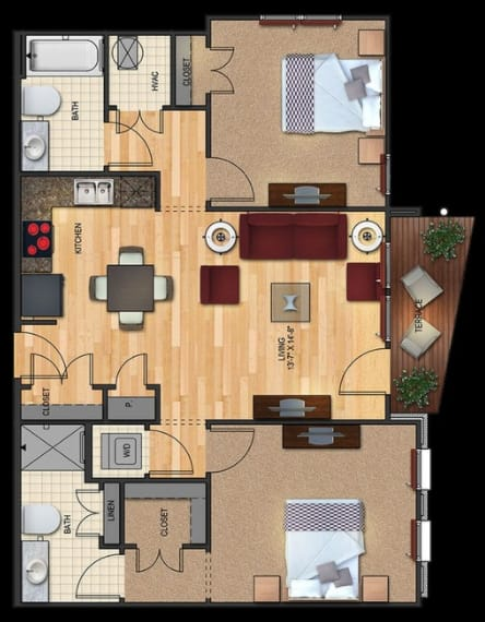 B2 Floorplan 2 bed 2 bath 953 sqft