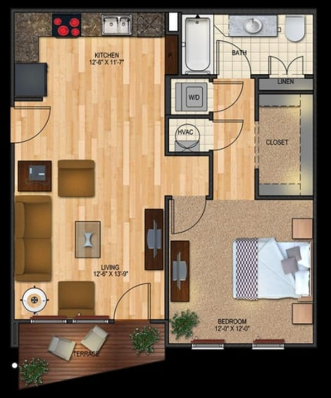 A1 floorplan 1 bed 1 bath 741 sqft
