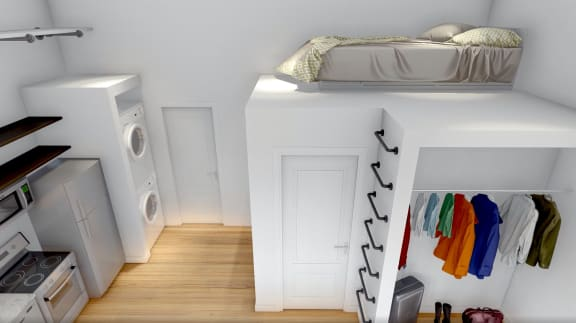 Loft style space - Suggested use. Ladder not provided with rental of apartment home.