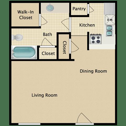 Floor Plan  Belmont Studio Apartment for Rent Pendelton Park Orlando