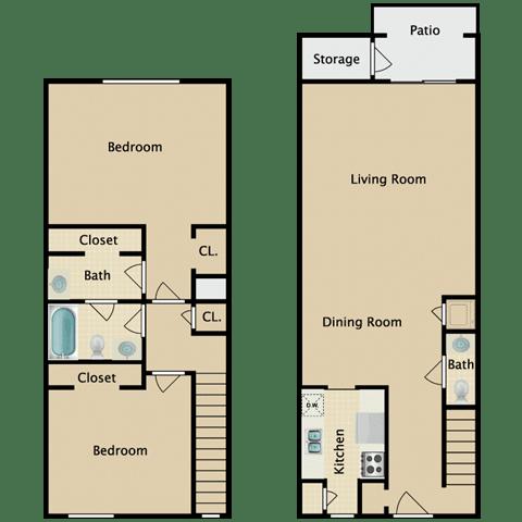 Floor Plan  Canterbury 2 Bedroom Apartment Pendelton Park Orlando
