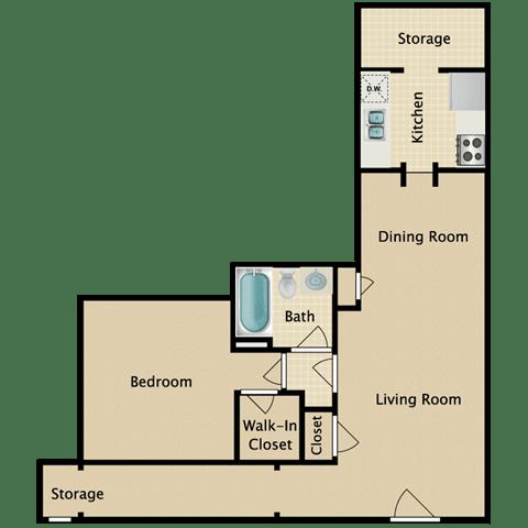 Floor Plan  Delmar 1 Bedroom Apartment for Rent Pendelton Park Orlando
