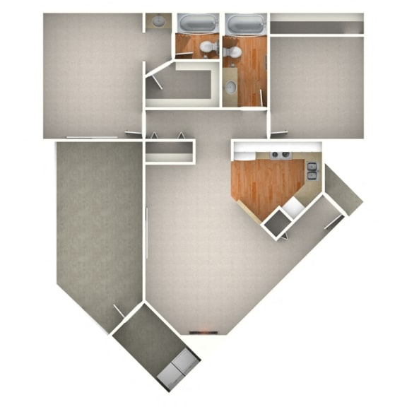 Floor Plan  Eagle 2 Bedroom for Rent at Anatole Apartment Homes Daytona Beach