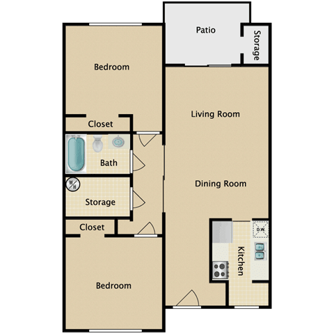 Floor Plan  Equestrian 2 Bedroom Apartment for Rent Pendelton Park Orlando
