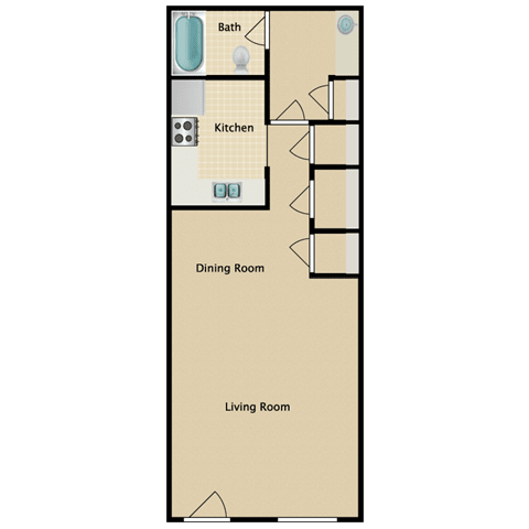 Floor Plan  Preakness Studio Apartment for Rent Pendelton Park Orlando